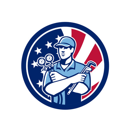 Icon retro style of an American serviceman holding manifold gauge