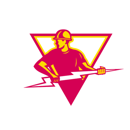 Retro style of a electrician holding a lightning bolt