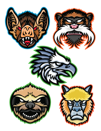 Mascot icon set of Amazon wildlife