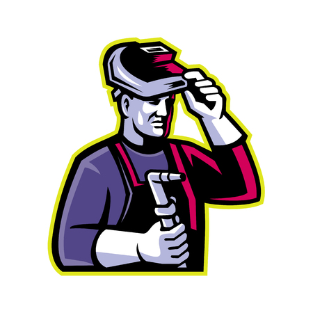 Mascot icon illustration of head of a welder lifting visor and holding welding torch viewed from side on isolated background in retro style. Иллюстрация