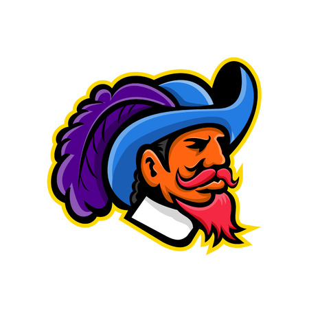 Mascot icon illustration of head of a musketeer or cavalier wearing a cavalier hat that  is wide-brimmed and trimmed with an ostrich plume viewed from side on isolated background in retro style. Stok Fotoğraf - 101601682