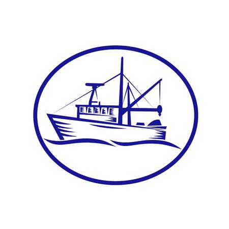 孤立した背景に楕円形の内側に設定された商業漁船のレトロな木版画スタイルのイラスト。