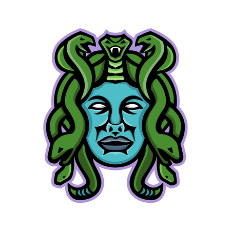 Mascot icon illustration of head of Medusa, in Greek mythology, a monster, a Gorgon, described as a winged human female with living venomous snakes in place of hair viewed from front in retro style.