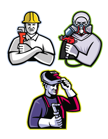 Mascot icon illustration set of tradesman like the pipefitter or plumber, automotive or industrial spray painter and welder or fabricator viewed from front on isolated background in retro style.