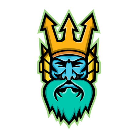 Mascot icon illustration of head of Poseidon, god of the Sea in Greek religion and myth, wearing a trident crown viewed from front on isolated background in retro style. Illustration