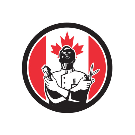 Icon retro style illustration of a Canadian barber with scissors and hair trimmer with Canada maple leaf flag set inside circle on isolated background. Illusztráció