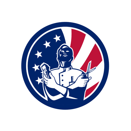 Icon retro style illustration of an American barber with scissors and hair trimmer with United States of America USA star spangled banner or stars and stripes flag inside circle isolated background.