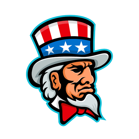 Mascot icon illustration of head of Uncle Sam, a popular symbol of the US government in American culture and patriotism, wearing a top hat with USA flag viewed from side done in retro style.
