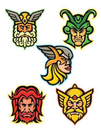 Mascot icon illustration set of heads of Norse gods such as Odin, Wodan, Woden or Wotangod, Loki, valkyrie warrior, Baldr, Balder or Baldur and Thor   on isolated background in retro style. Illustration