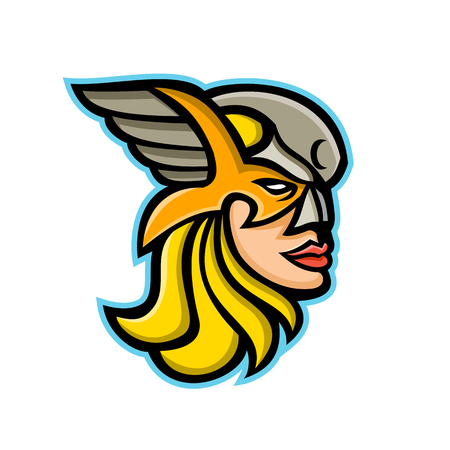 Ilustración del icono de la mascota de la cabeza de una valquiria o valkyrja, una guerrera en la mitología nórdica vista de frente sobre fondo aislado en estilo retro.