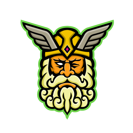 Mascot icon illustration of head of  Odin, also called Wodan, Woden, or Wotan, one of the principal gods in Norse mythology viewed from front on isolated background in retro style.