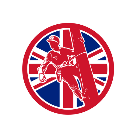 Icon retro style illustration of a British linesman or powerline worker on utility pole  with United Kingdom UK, Great Britain Union Jack flag set inside circle on isolated background.