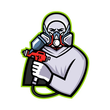 Mascot icon illustration of an Industrial Spray Painter holding spray paint and wearing mask or paint respirator viewed from front on isolated background in retro style.