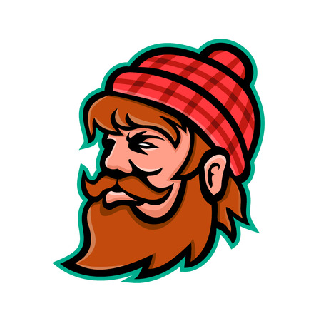 Mascot icon illustration of head of Paul Bunyan, a giant lumberjack in American folklore viewed from side on isolated background in retro style.