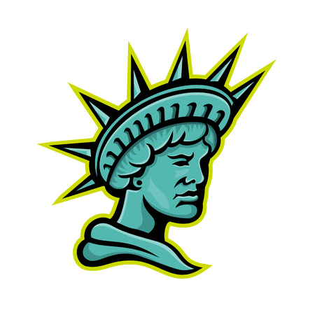 Mascot icon illustration of head of Libertas or Lady Liberty, the Roman goddess and embodiment of liberty wearing a crown viewed from side on isolated background in retro style.