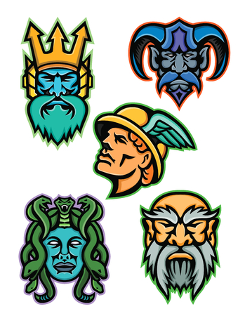 Mascot icon illustration set of heads of Greek mythology gods like Poseidon or Neptune, Hades, Hermes or Mercury, Medusa, a Gorgon, and Cronus or Kronos on isolated background in retro style. Illustration