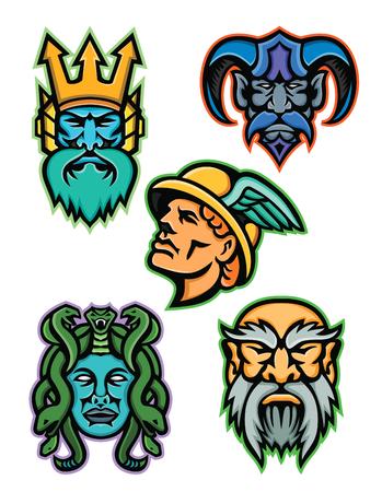 Mascot icon illustration set of heads of Greek mythology gods like Poseidon or Neptune, Hades, Hermes or Mercury, Medusa, a Gorgon, and Cronus or Kronos on isolated background in retro style. Vettoriali