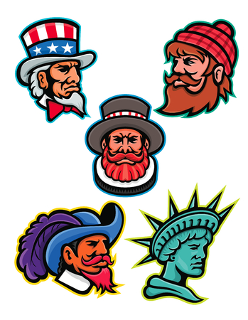 Mascot icon illustration set of heads of American and British mascots such as Uncle Sam, Paul Bunyan lumberjack, Beefeater or Yeoman, Cavalier or Musketeer and Lady Liberty or Libertas on isolated background in retro style.