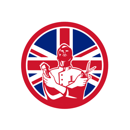 Icon retro style illustration of a British barber with scissors and hair trimmer  with United Kingdom UK, Great Britain Union Jack flag set inside circle on isolated background. Illustration
