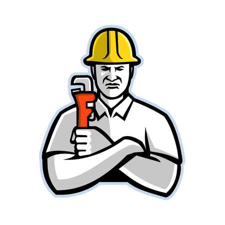 Mascot icon illustration of a pipefitter, a tradesperson who install, fabricate, maintain and repair mechanical piping systems, holding a pipe wrench  viewed from front in retro style. 矢量图像