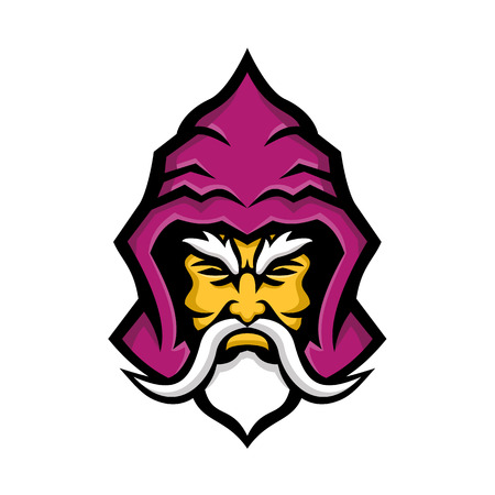 Mascot icon illustration of head of a Wizard, sorcerer or warlock, a practitioner of magic derived from supernatural, occult, or arcane sources viewed from  front done in retro style. 向量圖像