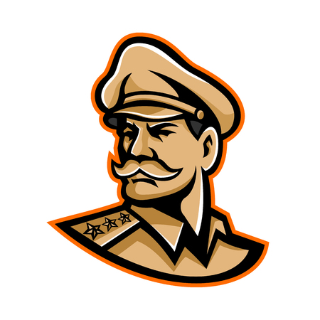 Mascot icon illustration of head of an American three-star general wearing a peaked cap looking forward viewed from side on isolated background in retro style. Illustration