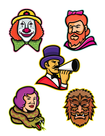 Mascot icon illustration set of heads of circus performers and freaks like the bearded lady or woman, wolfman or wolfboy, snake lady or charmer, circus whiteface clown and circus ringleader or ringmaster on isolated background in retro style.
