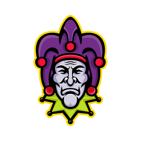 Mascot icon illustration of head of a jester, court jester, or fool, historically an entertainer during the medieval and Renaissance eras viewed from front on isolated background in retro style.