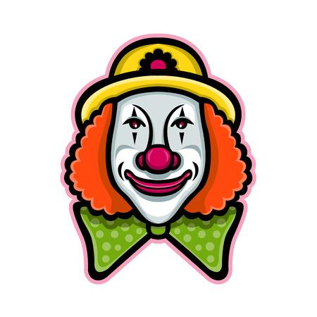 Ilustración del icono de la mascota de la cabeza de un payaso de circo de whiteface vintage visto desde el frente sobre fondo aislado en estilo retro.