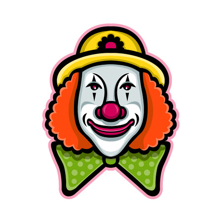 Mascot icon illustration of head of a vintage whiteface circus clown viewed from front  on isolated background in retro style. Illustration
