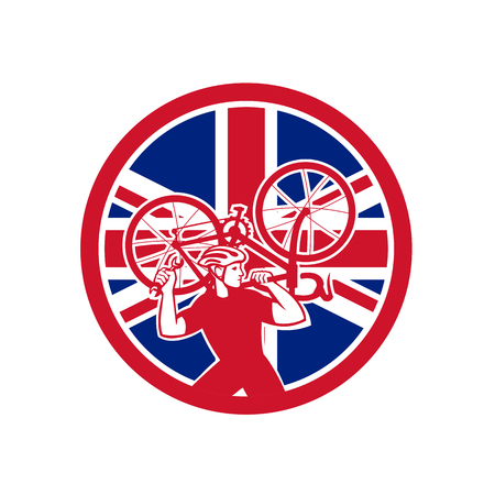 Icon retro style illustration of a British bike mechanic lifting road bicycle   with United Kingdom UK, Great Britain Union Jack flag set inside circle on isolated background.