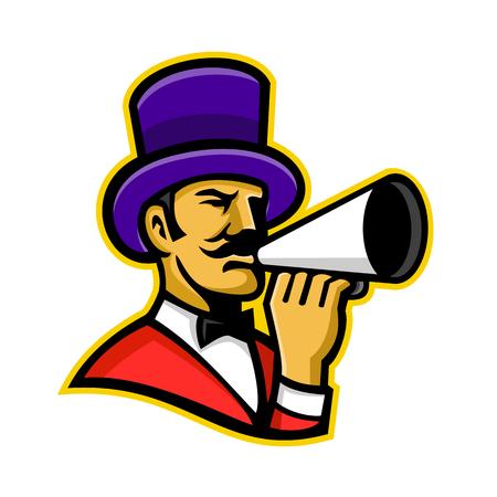 Icône de mascotte illustration de la tête d'un maître de piste ou d'un chef de file, un maître de cérémonie qui présente les numéros de cirque, tenant un mégaphone vu de côté sur fond isolé dans un style rétro.
