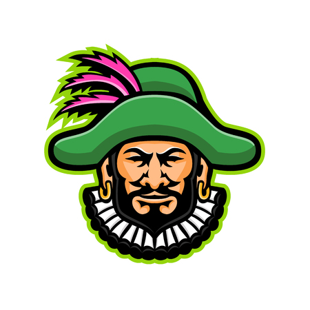 Mascot icon illustration of head of a minstrel, medieval specialist entertainer, singer or musician wearing a hat with feathers viewed from front on isolated background in retro style.