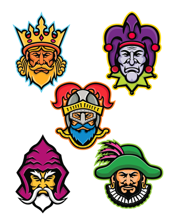 Mascot icon illustration set of heads of the European medieval royal court figures like the king or monarch, court jester or fool, knight, wizard or sorcerer and the minstrel viewed from front on isolated background in retro style.