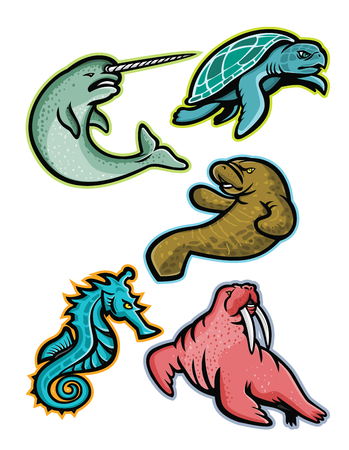 Mascot icon illustration set of aquatic animals and marine mammals like the narwhal or narwhale, ridley sea turtle, manatee or sea cow, sea horse or seahorse and the walrus  viewed from side on isolated background in retro style.