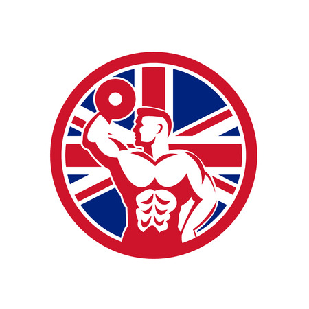 Icon retro style illustration of a British fitness gym showing a bodybuilder with dumbbell with United Kingdom UK, Great Britain Union Jack flag set inside circle on isolated background.