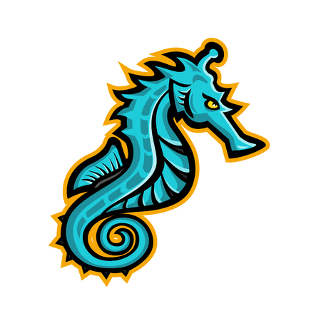 Mascot icon illustration of a seahorse, sea-horse or sea horse, a small marine fish in the genus Hippocampus viewed from side on isolated background in retro style. Illustration