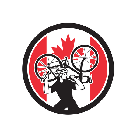Icon retro style illustration of a Canadian bike mechanic lifting road bicycle with Canada maple leaf flag set inside circle on isolated background.