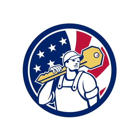 Icon retro style illustration of an American locksmith or key cutter carrying a giant key with United States of America USA star spangled banner, stars and stripes flag in circle isolated background. Stockfoto - 102034741