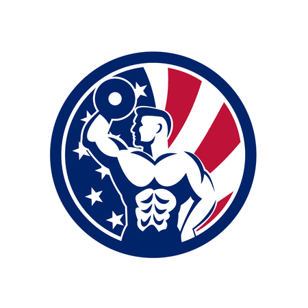 Icon retro style illustration of an American  fitness gym showing a bodybuilder lifting dumbbell  with United States of America USA star spangled banner or stars and stripes flag inside circle.