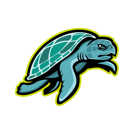 Mascot icon illustration of a Kemps ridley sea turtle, or the Atlantic ridley sea turtle, the rarest species of sea turtle, swimming viewed from side  on isolated background in retro style.