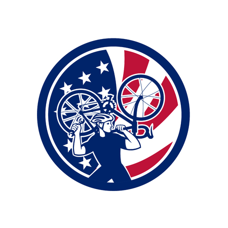 Icon retro style illustration of an American  bike mechanic lifting road bicycle  with United States of America USA star spangled banner or stars and stripes flag inside circle isolated background.