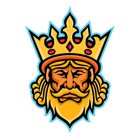 Mascot icon illustration of head of a King, a male monarch wearing a heraldic crown viewed from front on isolated background in retro style. Ilustração