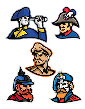Mascot icon illustration set of heads of military officers and emperors like the British admiral, French emperor, American general, Prussian or German officer and the Jacobite highlander  viewed from  on isolated background in retro style.