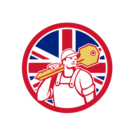 Icon retro style illustration of a British locksmith or key cutter carrying a giant key with United Kingdom UK, Great Britain Union Jack flag set inside circle on isolated background.