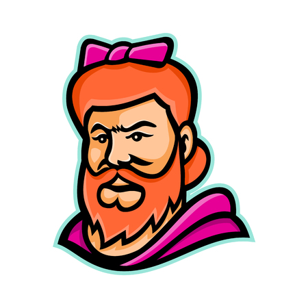 Mascot icon illustration of head of a bearded lady or bearded woman,  a woman with a visible beard that is featured as a circus curiosity viewed from front on isolated background in retro style. Иллюстрация