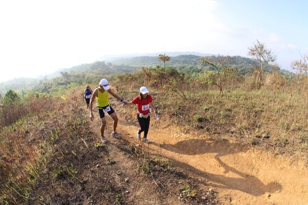 SAN MATEO, Mar. 28: Trail runners and participants of the All-Terra King of the Mountain 10k trail race running in San Mateo, Rizal, Philippines on March 28, 2010.