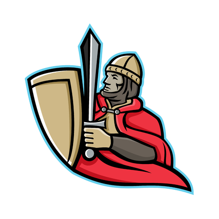 Mascot icon illustration of a medieval king or knight wielding a sword and shield from waist up viewed from side on isolated background in retro style. Фото со стока - 103250276