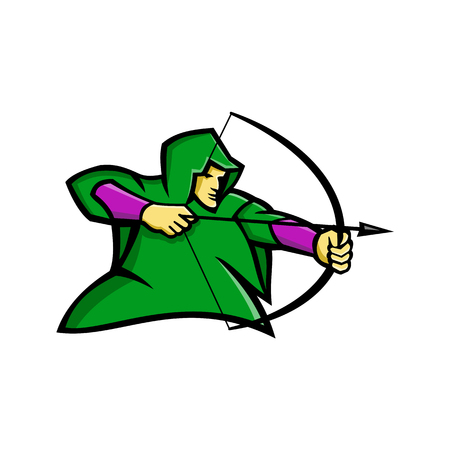 Mascot icon illustration of a medieval archer like Robin Hood, shooting a bow and arrow wearing a green hood viewed from side on isolated background in retro style. Иллюстрация