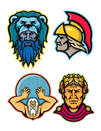 Insieme dell'illustrazione dell'icona della mascotte delle teste degli eroi e degli dei romani e greci nella mitologia come Ercole o Eracle, Achille o Achilleus, globo di sollevamento dell'Atlante e Gaio Giulio Cesare visti da su sfondo isolato in stile retrò. Vettoriali